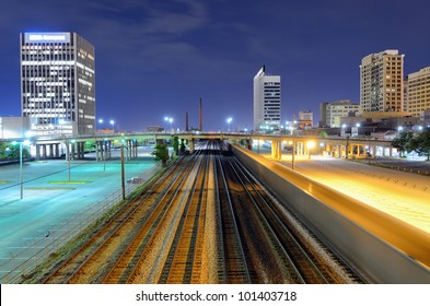 Railway in cutting through downtown Birmingham, Alabama, USA.