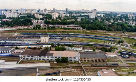 Railway depot to Kiev, Ukraine, trains Ukrzaliznytsya June 2018