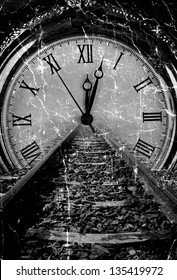 Railway disappear in watch grunge old art decay black and white