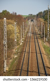 Railway double track electrified track. Railway infrastructure. Sunny weather