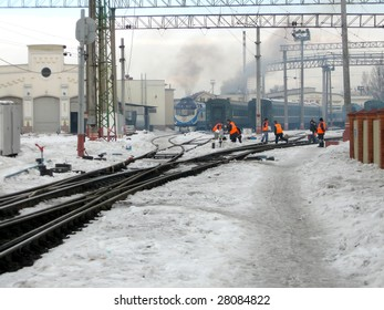 Railway engineers after clearing of snow