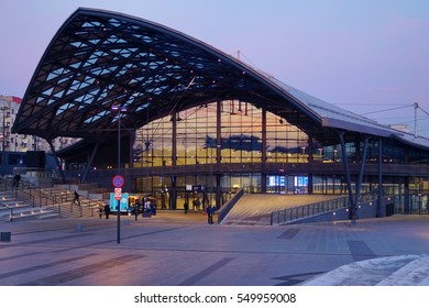 Railway Fabryczna. Lodz, Poland - December 30, 2016 ; Railway station after sunset,. The new three-level station, part of the New Center of Lodz, Poland