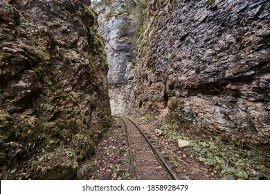 Railway in the fracture of rocks in the Guam Gorge, Krasnodar Territory