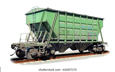The railway hopper car for the transportation of cement isolated on white background with a fragment of a railway track