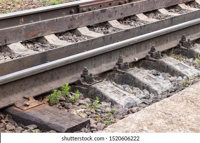 Railway. Industrial fastening, sleepers and rails