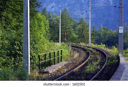 railway into a forest