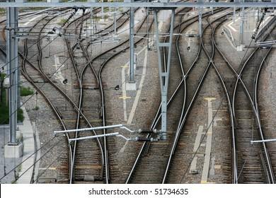 Railway junction in St. Gallen, Switzerland. Railroad tracks.