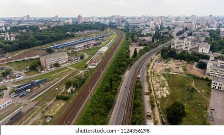 Railway in Kiev, Ukraine, trains Ukrzaliznytsy June 2018