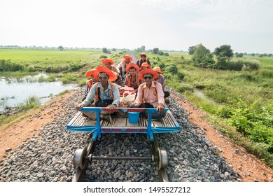 the Railway line of the Bamboo Train near the city centre of Battambang in Cambodia.  Cambodia, Battambang, November, 2018