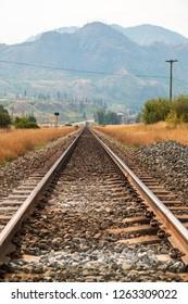 Railway line near Kamloops, British Columbia, Canada, North America