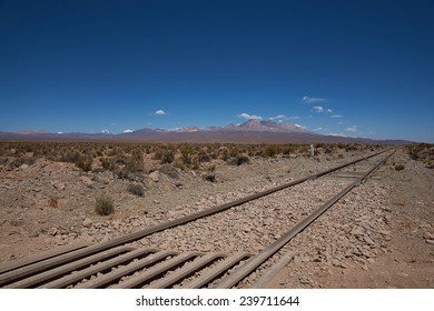 Railway line running across the high altitude Altiplano of northern Chile. The railway connects Bolivia with the Port of Arica on the Pacific Coast of Chile.