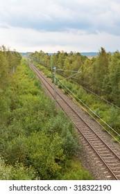 Railway line through the woods