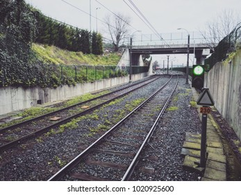 Railway lines with green light in Istanbul