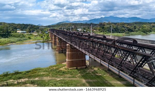 Railway Lines to the Horizon at the Victoria Bridge, Kuala Kangsar, Malaysia