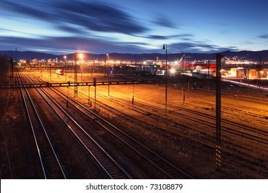 Railway lines at night