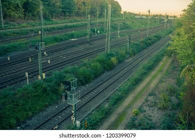 railway lines at sundown