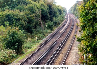 Railway lines with third rail electrification, Bexhill-on-Sea, East Sussex, England, UK.