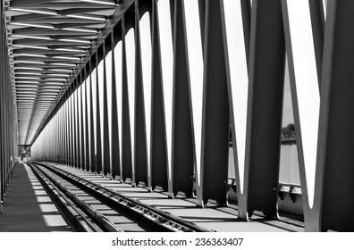 Railway metal bridge perspective view