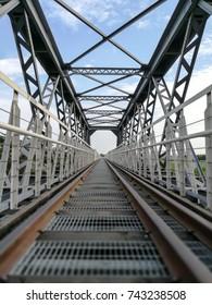 Railway metal bridge perspective view in Yulin Taiwan