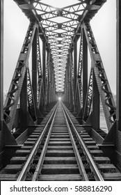 Railway metal bridge perspective view,Adana,Turkey