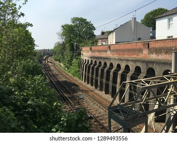A Railway in middle of Colchester, Essex, UK.