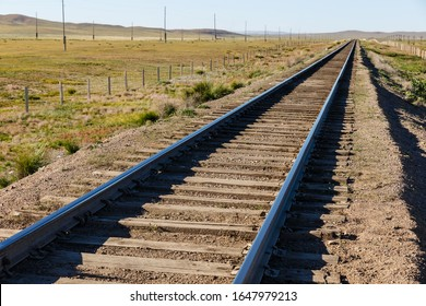 railway in mongolia, Transmongol Railway, single-track railway in steppe,