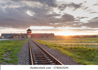 Railway to the nazi concentration and extermination camp Birkenau at sunset