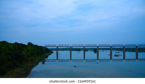 A railway over bridge on a river named Betwa near to Jhansi city Uttar Pradesh India