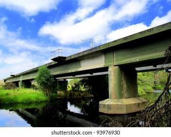Railway overhead bridge across river