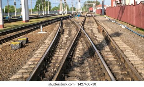 Railway pointwork, railway tracks, Railway sleepers and rails.