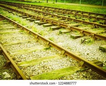 Railway railroad tracks for train public transport vintage retro