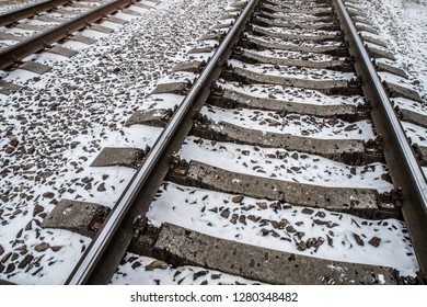 Railway rails and concrete sleepers.