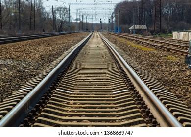 railway rails extending to the horizon
