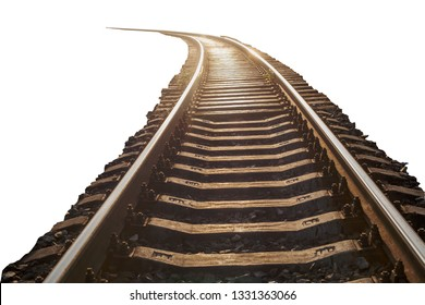 railway rails and sleepers in isolation against white background