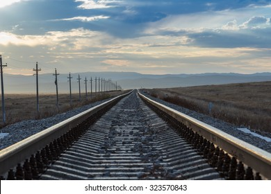 Railway rails of stretching into the distance