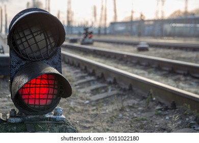Railway red traffic light stop signal
