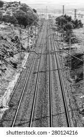 Railway road is alleged in the horizon, vertical