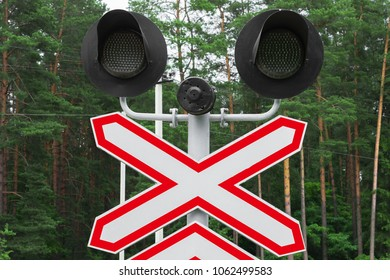 Railway semaphore in the forest
