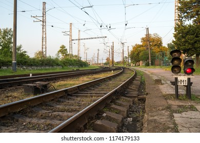 Railway signs, semaphores and railroad crossings, Poti, Georgia.