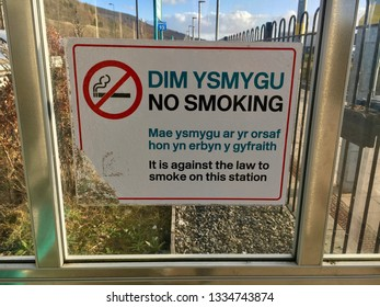 Railway Signs in Welsh Language. Ebbw Vale, Wales