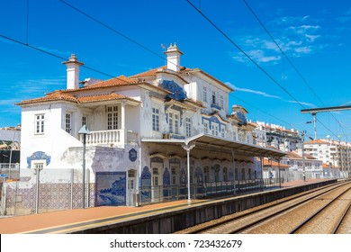 Railway station in Aveiro, Portugal in a beautiful summer day
