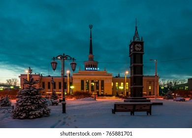 Railway station building in Petrozavodsk, Russia in a winter day.  Letters say 'Railway station' in russian language NO TRADEMARK. Star at the spire is former Soviet Union sign, not copyrighted