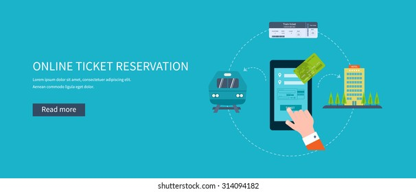 Railway station concept. Train on railway. Online ticket reservation. Flat icons illustration.