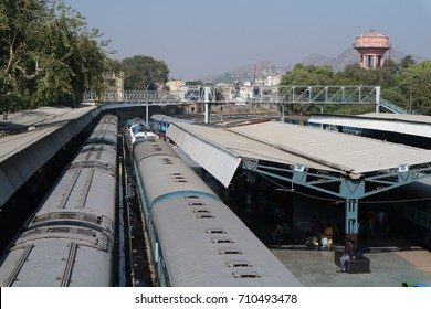The railway station in India, blue sky