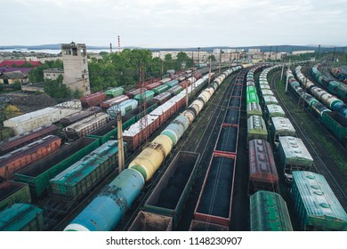 Railway Station with lots of Lines and Freight Trains. Aerial View. Location Kandalaksha Russia