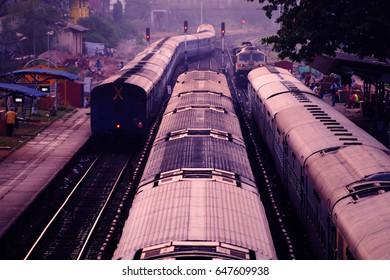 Railway station in Mumbai. Roofs of trains. Mumbai, India
