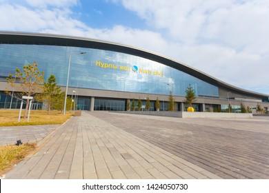 Railway station - Nurly Zhol in Astana. Astana, Kazakhstan - April 17, 2019: The station of Astana (Nur-Sultan) of the capital of Kazakhstan - Nurly Zhol.