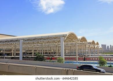 Railway station platform ceiling
