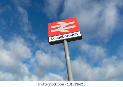 Railway Station Sign for Loughborough Station, Loughborough, Leicestershire, UK - 1st February 2018