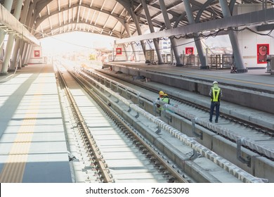 Railway station of sky train during construction